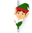 elf standing behind a sign and showing on blank vector image