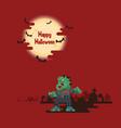 halloween zombies walking under the moon vector image