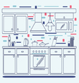 Linear flat interior design of modern kitchen vector image