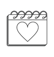 valentine day calendar love heart date outline vector image