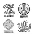 viking scandinavian ancient warriors labels set of vector image
