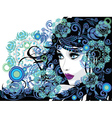 Winter Girl with Floral7 vector image