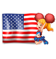 An energetic cheerer from the USA vector image vector image