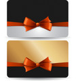 Holiday gift card with red ribbons and bow vector image