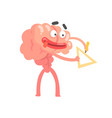 humanized cartoon brain character drawing with vector image