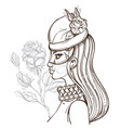 woman in hat with veil and rose outline for vector image