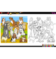 purebred dogs coloring book vector image