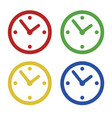 color common clock icons set isolated on white vector image