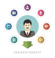 Business man concept and flat icons set money vector image