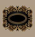 black frame with golden ornament vector image