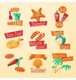 Set of cute bright summer icons with typographic vector image