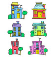 set of house set colorful collection vector image