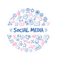 social media network hand drawn infographic vector image