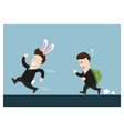 rabbit businessman and turtle one are in running vector image