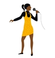 Woman sing into microphone vector image