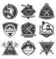 monochrome vintage blacksmith labels set vector image