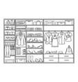 hand drawn monochrome family wardrobe concept vector image