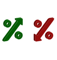 3D percentage symbol with up and down arrow vector image vector image