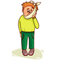 Ill little man complains about teeth pain vector image vector image
