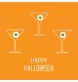 Martini set with eyeballs Happy Halloween card vector image