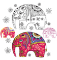 Set of abstract decorative elephants vector image vector image
