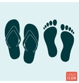 Beach slippers footprint icon isolated vector image