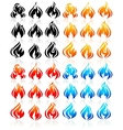 Fire flames big set new icons vector image