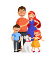 happy family are standing together in hug father vector image