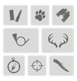 monochrome with hunting icons vector image