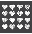 Set of hand drawn hearts on black background vector image