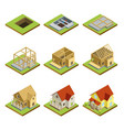 stages of house construction isometric 3d set vector image