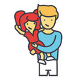 happy father with daughter dad with kid concept vector image