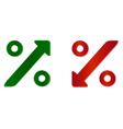 percentage symbol with up and down arrow vector image vector image