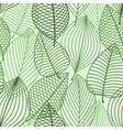 Green foliage seamless pattern of outline leaves vector image