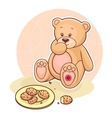 Teddy Beareating cookies vector image vector image