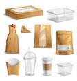 fastfood takeaway packaging realistic set vector image