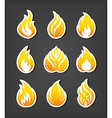 Fire paper cut icons set vector image