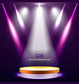 gold stage with spotlight and star on purple vector image