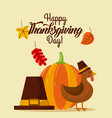 happy thanksgiving day with beautiful turkey bird vector image