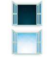 open window - night and day vector image