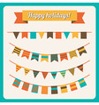 Set of bunting and garland in retro colors vector image