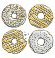 set of silver donuts with a gold cream vector image