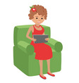 woman use tablet sitting in vector image