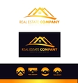 Real estate orange house roof logo icon design vector image