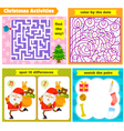 Christmas puzzle games vector image vector image