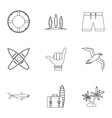 Surfing icons set outline style vector image