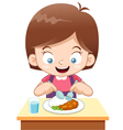 girl eating vector image