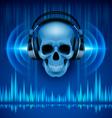 Skull in headphones Disco background vector image vector image
