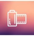 Camera film roll thin line icon vector image