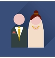 Flat web icon with long shadow bride and groom vector image